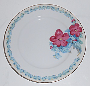 Albion China Hibiscus W/gold Salad Plate