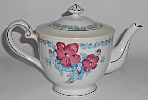 Albion China Hibiscus W/gold Teapot