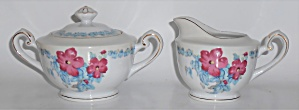 Albion China Hibiscus W/gold Creamer & Sugar Bowl Set