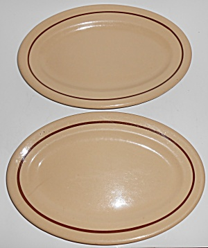 Tepco Restaurant China Pair Brown Band Platters