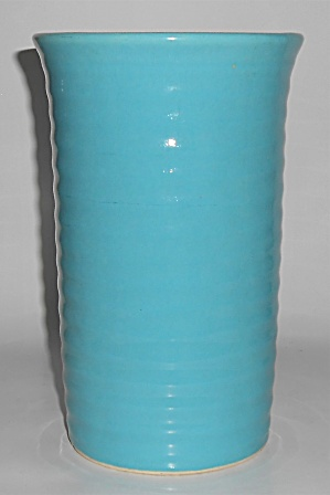 Bauer Pottery Ring Ware Turquoise 8.5'' Vase