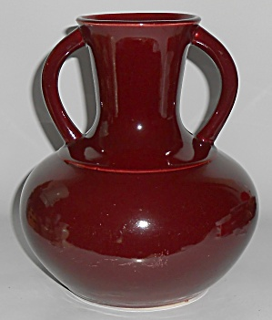 Broadmoor Art Pottery Ph Genter Maroon Twin Handle Vase