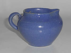 W.j. Gordy Georgia Art Pottery Blue Demi Creamer