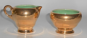 Camark Art Pottery Nor-so Gold Demitasse Creamer & Sug