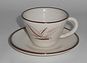 Winfield China Pottery Dragon Flower Demitasse Cup & Sa