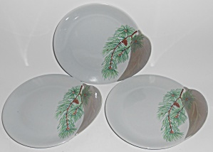 Canonsburg China Willard George Pine Set/3 Bread Plates