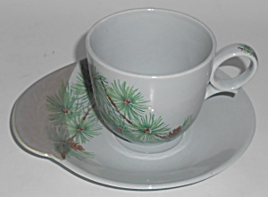 Canonsburg China Willard George Pine Cup & Saucer Set