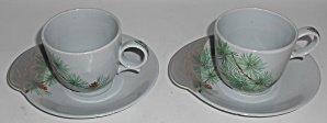 Canonsburg China Willard George Pine 2 Cup/saucer Set