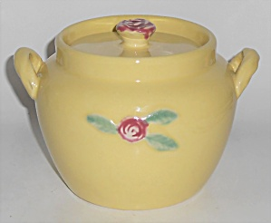 Coors Pottery Rosebud Early Yellow Utility Jar W/lid