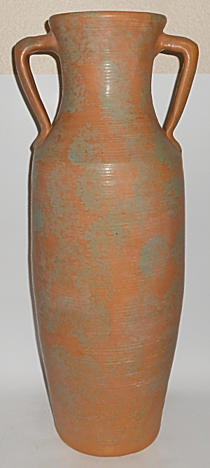 Burley Winter Art Pottery Green Over Orange 2-handle Va