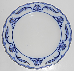 W.h. Grindley Flow Blue China Lotus Dinner Plate #2