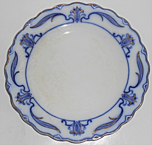 W.h. Grindley Flow Blue China Lotus Dinner Plate #3