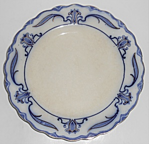 W.h. Grindley Flow Blue China Lotus Dinner Plate #4