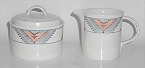 Mikasa China Santa Fe Creamer & Sugar Bowl Set