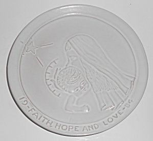 Frankoma Pottery 1984 Faith, Hope And Love Christmas Pl