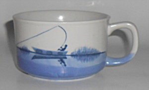 Blue White Fish On Pottery Oversize Mug