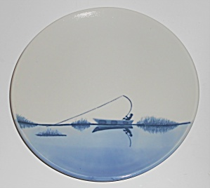 Blue White Fish On Pottery Salad Plate