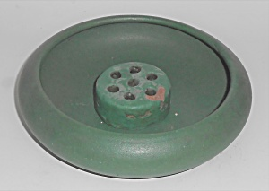 Bauer Pottery Early Matte Green Bowl & Flower Frog