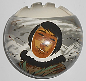 Sascha Brastoff Pottery Alaska Series Eskimo Ashtray