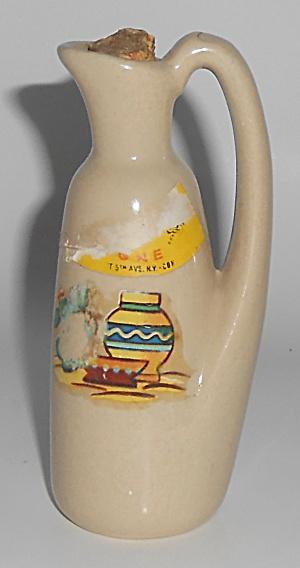 Zanesville Stoneware Pottery Mini Cologne J-6 Jug w/Mex (Image1)