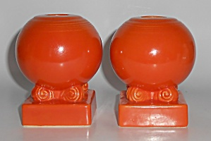 Vintage Fiesta Pottery Orange / Red Bulb Candlesticks