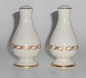 Franciscan Pottery Fine China Pair Gold Arcadia Salt &