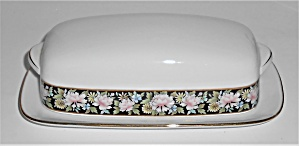 Noritake China Porcelain Rima Covered Butter Dish