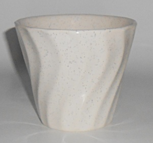 Bauer Pottery White Speckle 4'' Swirl Flower Pot