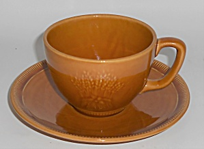 Franciscan Pottery Wheat Harvest Brown Cup & Saucer Set