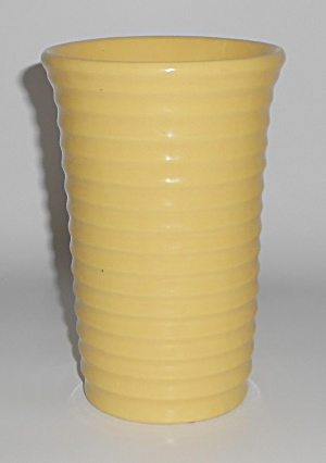 Bauer Pottery Ring Ware Yellow 6-1/4'' Cylinder Vase