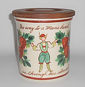 Bauer Pottery Strawberry Decorated Motto Jar W/lid Mint