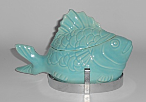 Bauer Pottery Chicken Of The Sea Turquoise Tuna Baker W