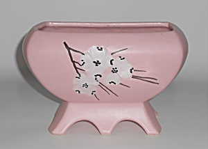 McCoy Art Pottery Pink w/White Dogwood Blossoms Footed  (Image1)