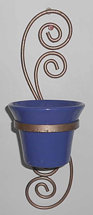Bauer Pottery 4'' Cobalt Spanish Flower Pot W/metal