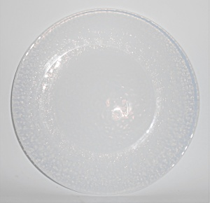 Yalos Casa Art Glass Murano White Opalescent Dinner Pl