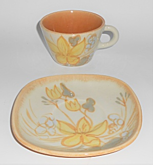 Winfield China Pottery Fallow Floral Cup & Saucer Set