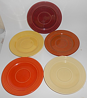 Bauer Pottery Monterey Ring Set/5 Saucers