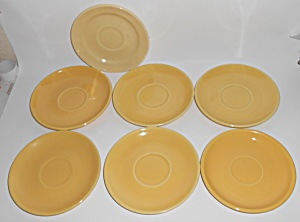 Bauer Pottery Monterey Moderne Yellow Set/7 Saucers