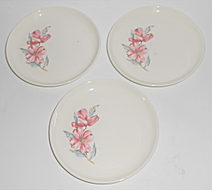 Russel Wright Pottery White A.m. Set/3 Bread Plates W/d