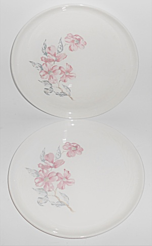 Russel Wright Pottery White A.m. Pair Dinner Plates W/d
