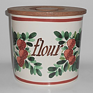 Bauer Pottery Strawberry Decorated Motto Flour Canister