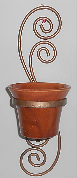 Bauer Pottery 4'' Red/brown Spanish Flower Pot W/metal