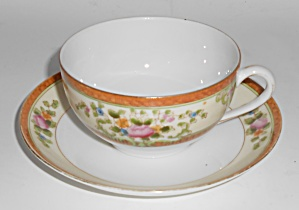 Noritake Porcelain China Floral W/gold Cup & Saucer Set