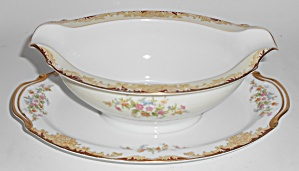 Noritake China Porcelain Floral W/gold / Red Gravy Bowl