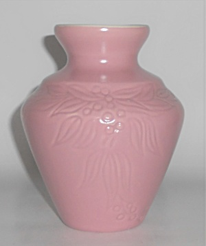 Coors Art Pottery Pink/White Leaves/Berries Vase (Image1)