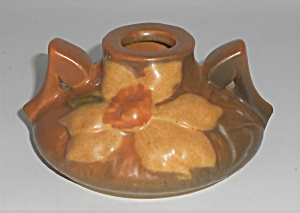 Roseville Art Pottery Brown Clematis Candlestick Holder