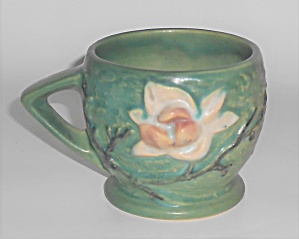 Roseville Art Pottery Green Magnolia Handled Cup