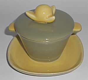 Winfield China Pottery Rare Green Bamboo Covered Soup Bowl!