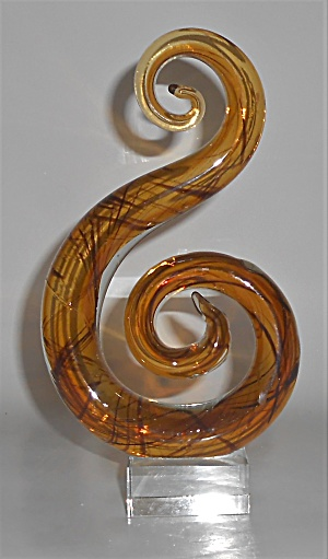 Murano Art Glass Amber Treble Clef