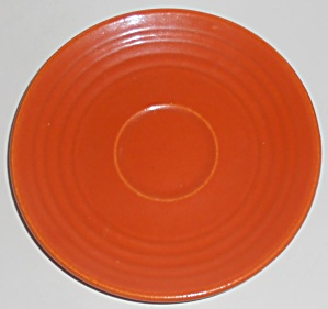 Vintage Bauer Pottery Ring Ware Orange Saucer